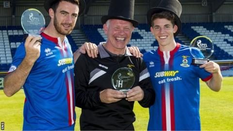 SPFL manager of the month for August John Hughes is flanked by Ross Draper and Ryan Christie, who won player and young player of the month respectively