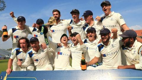 Yorkshire celebrate winning the 2014 County Championship
