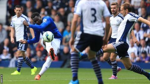 Romelu Lukaku curls in a shot for Everton at West Brom