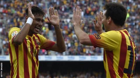 Neymar celebrate with Lionel Messi