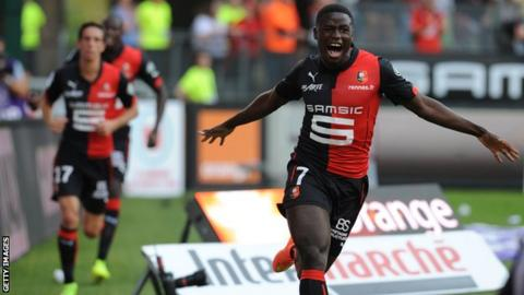 Paul-Georges Ntep celebrates scoring for Rennes