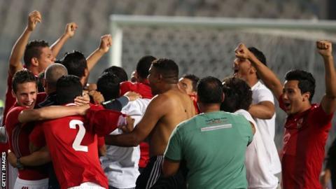 Al Ahly players celebrate