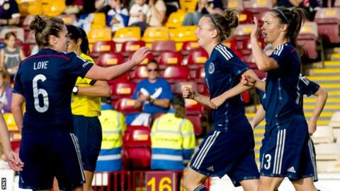 Scotland's women enjoyed a day to remember as they saw off the Faroe Islands 9-0 at Fir Park