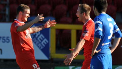 Portadown striker Darren Murray celebrates after scoring one of his two goals against Ballinamallard Utd in the 3-0 victory which kept Ronnie McFall's side top of the table
