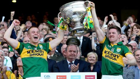 Fionn Fitzgerald and Kieran O'Leary lift the Sam Maguire Cup as Kerry celebrate a 37th All-Ireland title