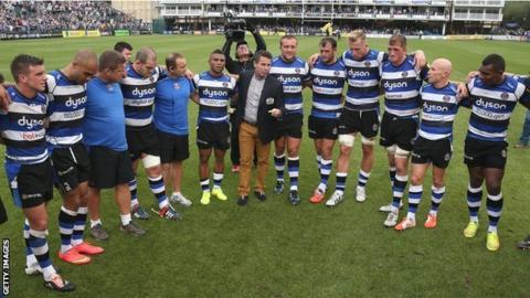 Bath director of rugby Mike Ford debriefs his side after their 45-0 win over Leicester