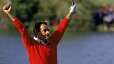 Sam Torrance celebrates the winning putt in 1985
