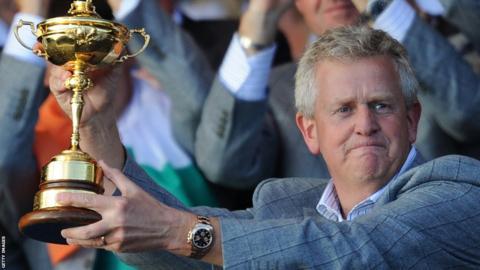 Colin Montgomerie celebrates the 2010 victory