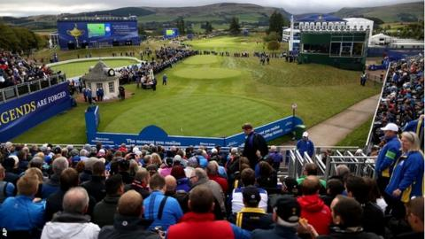 A general view of the 1st hole from the tee ahead of the Ryder Cup