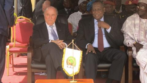 Fifa president Sepp Blatter and head of Caf Issa Hayatou
