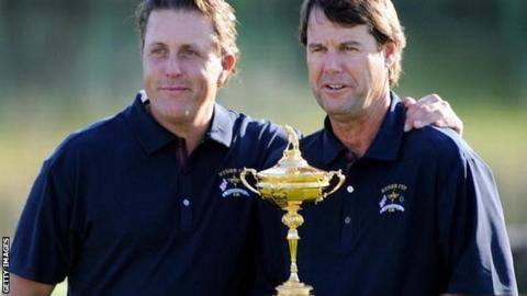 Phil Mickelson (left) with Paul Azinger