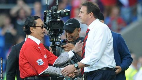 Vincent Tan and Malky Mackay in 2013