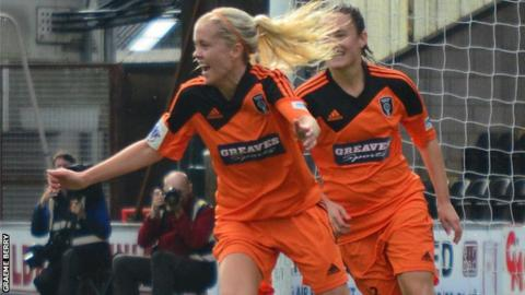 Denise O'Sullivan celebrates after scoring for Glasgow City in a recent league match