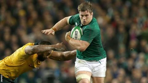 Sean O'Brien is challenged by Australia's Sekope Kepu in last November's international in Dublin