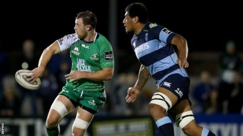 Connacht's Willie Faloon and Cardiff's Filo Paulo