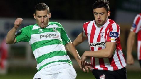 Ryan Brennan of Shamrock Rovers in action against Derry City's Dean Jarvis
