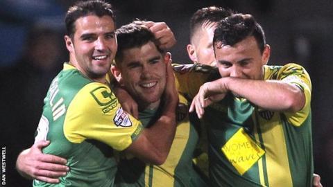 Stephen McLaughlin (left) congratulates fellow goalscorer Ronan Murray for Notts County's second goal in the win over Scunthorpe