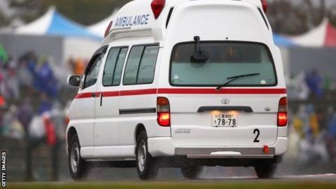 Jules Bianchi was taken away in an ambulance after crashing during the Japanese Grand Prix
