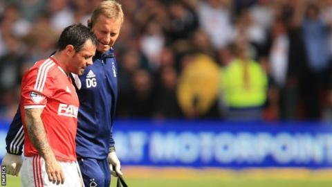 An injured Andy Reid walks off the pitch after being hurt in the game against Derby County in September