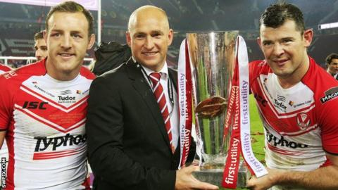 James Roby, Nathan Brown and Paul Wellens hold the Super League trophy