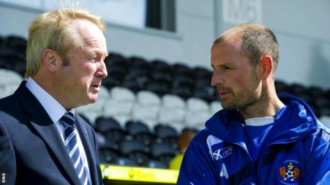 Kilmarnock chairman Michael Johnston (left) and manager Allan Johnston