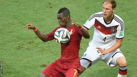 Ghana international Christian Atsu (left) playing n the World Cup against Germany