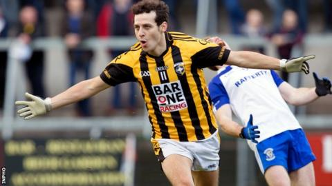 It's joy for Jamie Clarke after scoring a goal but anguish for an Armagh Harps defender