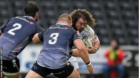 Adam Jones goes on the charge for Cardiff Blues against former side Ospreys