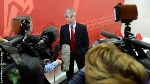 Gareth Davies faces the Welsh media after being appointed chairman of the WRU