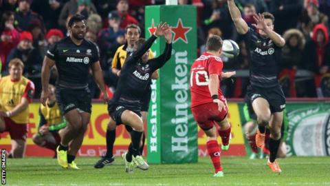 Munster's Ian Keatley kicks a drop goal