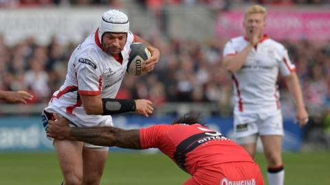 Ulster captain Rory Best tries to make ground for his side on his 50th European appearance for the Irish province