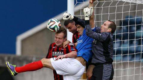 Goalmouth action from Windsor Park as Crusaders beat Linfield 2-1 in the Irish Premiership