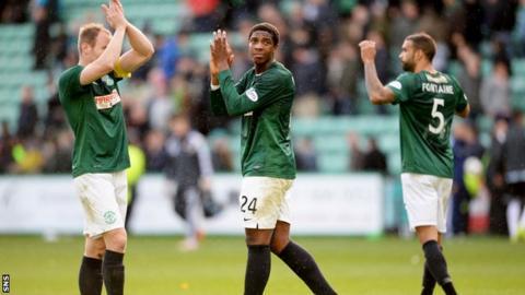The Hibs players experienced a familiar feeling against Hearts