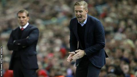 Brendan Rogers and Swansea manager Garry Monk