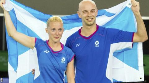 Imogen Bankier and Robert Blair claimed the badminton mixed doubles bronze medal at Glasgow 2014