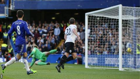 Oscar celebrates scoring for Chelsea against QPR