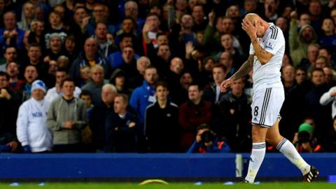 Jonjo Shelvey troops off after being shown a red card