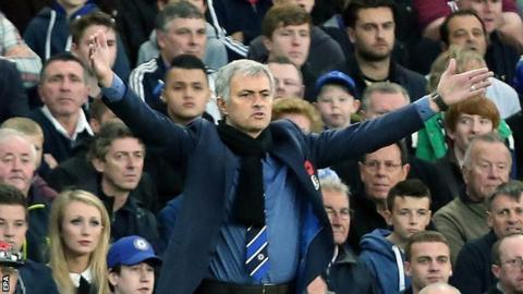 Chelsea manager Jose Mourinho reacts during the 2-1 win over QPR