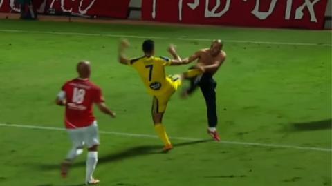The Tel Aviv derby in Israel between Hapoel and Maccabi