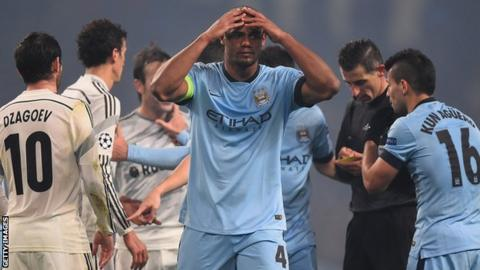 Manchester City captain Vincent Kompany reacts against CSKA
