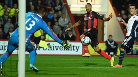 Callum Wilson scores against West Brom