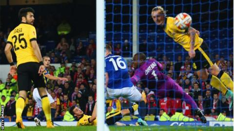 Everton midfielder Russell Osman scores against Lille in the Europa League