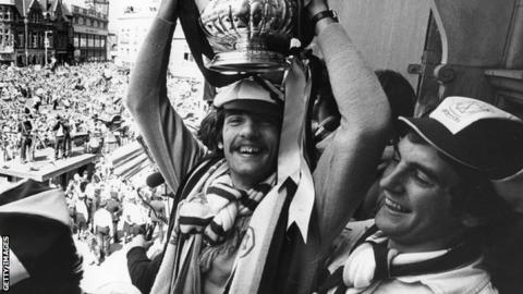 Alan Devonshire lifting the FA Cup in 1980