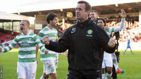 Ronny Deila joined in the post-match celebrations at Pittodrie