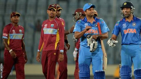 West Indies and India players during last year's World Twenty20
