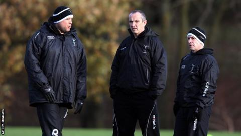 Harlequins coaches Tony Diprose, Conor O'Shea and Mark Mapletoft
