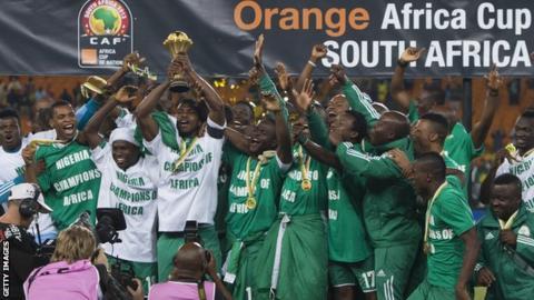 Nigeria football team celebrate