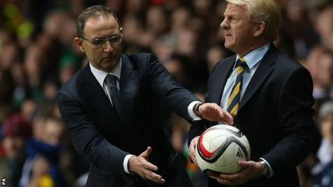 Martin O'Neill is about to grab the ball off Gordon Strachan during Friday's game