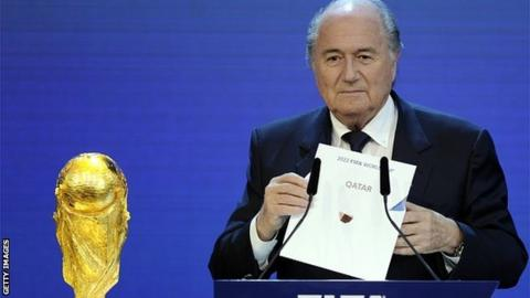 FIFA President Sepp Blatter at the official announcement of the 2022 World Cup host country