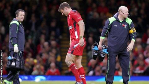 Dan Biggar leaves the field against Australia